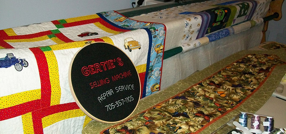 quilt with Gertie's sign